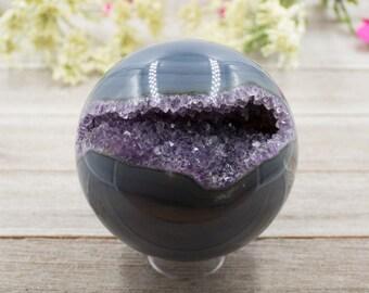 Amethyst Crystal Geode Sphere