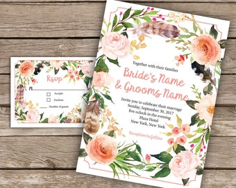 Pink floral and feather wreath wedding invitation and RSVP card