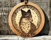 Personalized Fox Christmas Ornament, Stocking Stuffer, Celestial, Spirit Animal, Gift, Rustic Wood Engraving
