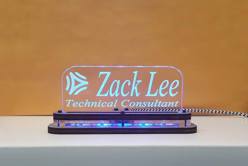 Personalized Light Up LED Desk Name Plate - Wood and Acrylic Base -  Professional Desk Display - Name tag, Name sign Custom text