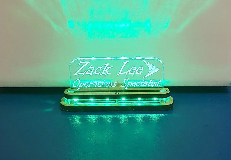 Personalized Light Up LED Desk Name Plate - Wood and Acrylic Base -  Professional Desk Display - Name tag, Name sign Custom text - Office