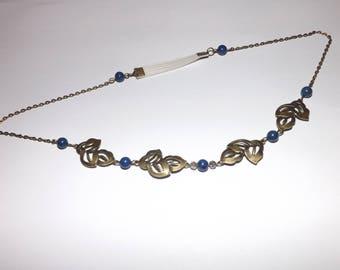 pretty hair jewelry HEADBAND, vintage accessories, leaf Trio, blue lapis lazuli bead