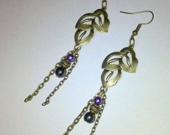 designer jewelry earring leaf trio bead hematite black and glass purple