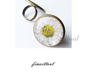ring adjustable glass cabochon 18 mm, miss, romantic Daisy