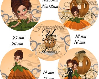 40Image digital cabochon Princess pumpkin, oval and round/shipping