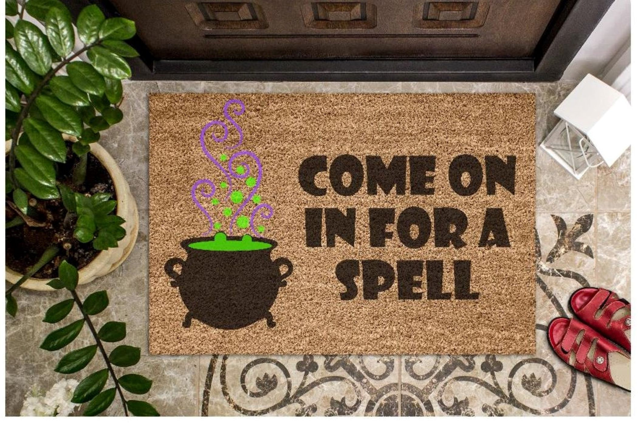 Come On In For A Spell Halloween Coir Doormat