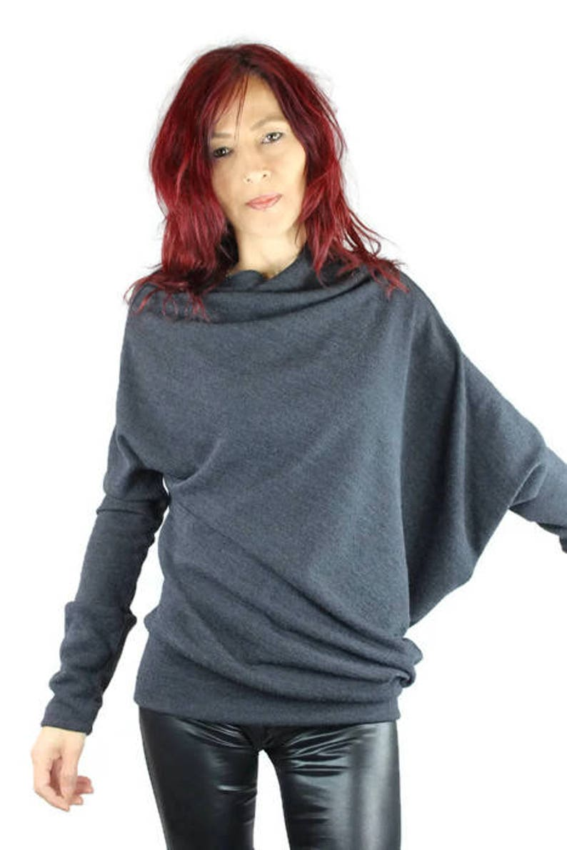 unstructured pleated wool knit Mouse sweater grey asymmetrical