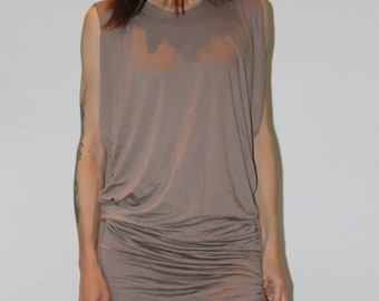 Short dress, asymmetrical tunic, pleated, cotton Jersey, beige taupe color