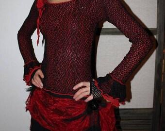 Sweater, Black mesh, red voile ruffles on sleeves, neckline, glam, feminine flower.