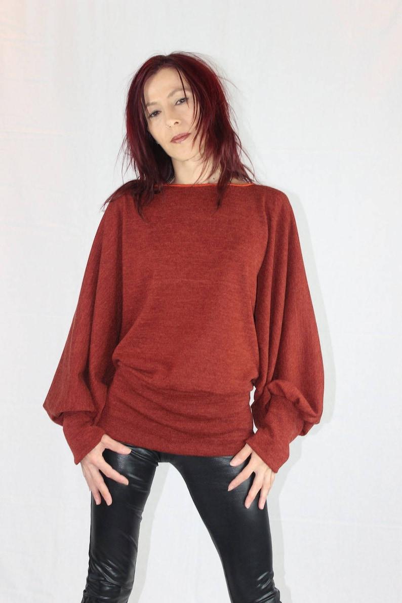 8038a2f013ef Pull chauve souris couleur rouille lainage tricot