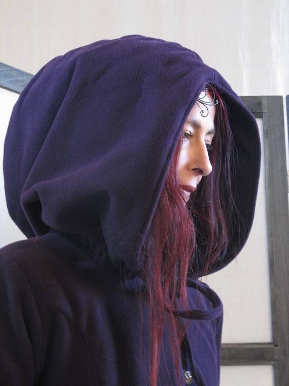 Manteau long, intemporel , en pure laine , violet prune