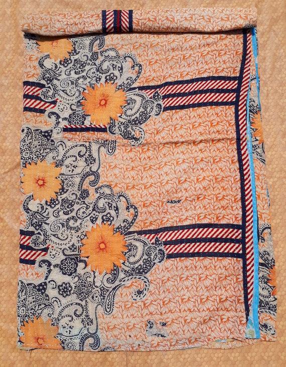 Vintage Handmade Cotton Sari Patchwork Kantha Quilt Queen Size Etsy