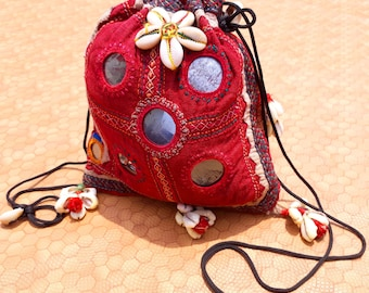 Vintage Old Rabari /Pouch/Tribal/Handmade/Boho Pouch/Embroidered/Mirror Work/Gypsy/Banjara/Clutch/Brown/Pouch/Bohemian Clutch Shoulder Pouch