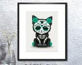 Sugar Skull Kitty cross stitch pattern, Day of the dead cat, Kitten cross stitch chart, Mexican art, PDF download. 11 quot x14 quot .