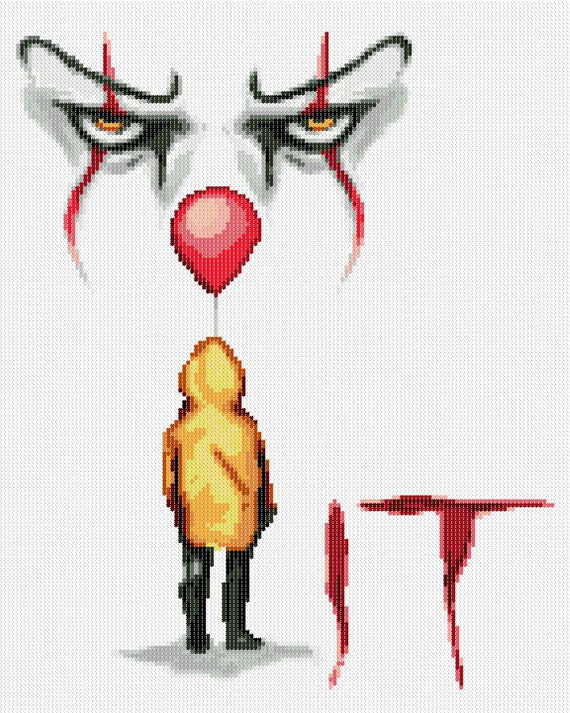 Pennywise IT Steven King Cross Stitch Chart Design 2