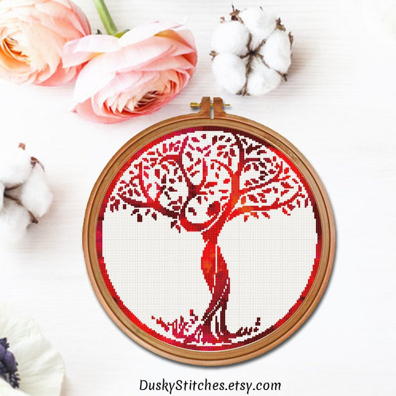 Red tree cross stitch pattern Red woman stylized design Easy   Etsy
