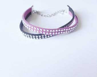 Bracelet double black and plum suede