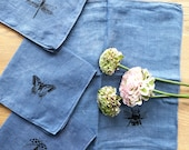 Vintage Blue Linen Small Dinner Napkins with Hand Screen Printed Winged Garden Insects - Set of 4