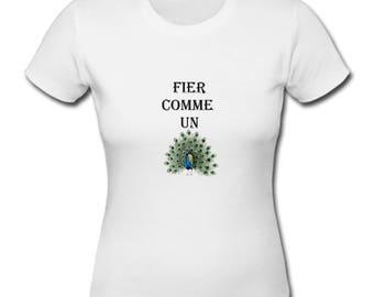 T-shirt cotton woman, customizable text, proud as a Peacock