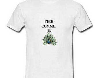 Men's T-shirt in white cotton, humor, proud as a Peacock