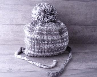 Bonnet bébé en laine, Bonnet Péruvien 18 mois, bonnet bébé au tricot, bonnet  hiver enfant, cadeau noël, cadeau bébé 18 mois, pompon, gris a0a9f0578e4