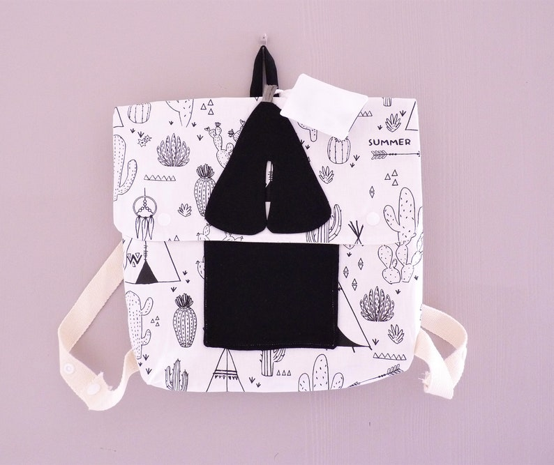 back-to-school gift Personalised kindergarten binder /'Indian tipi/' handmade in cotton fabric child backpack for school