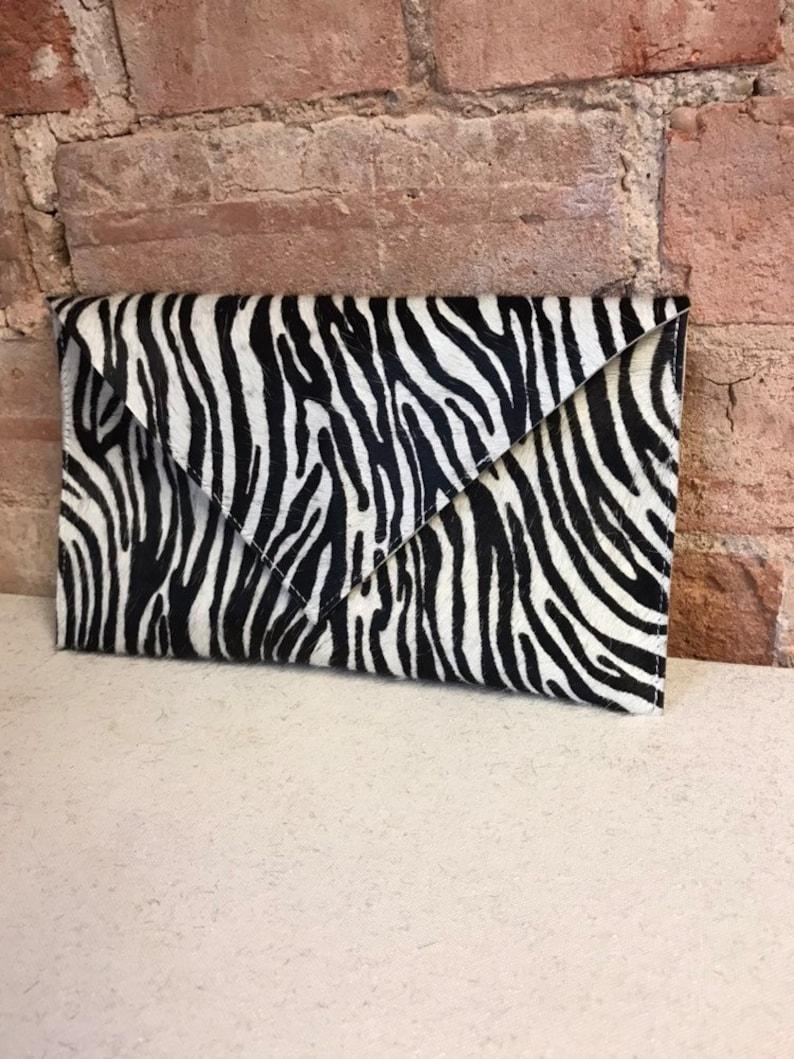 a21bfaa5b8fe Zebra print envelope clutch bag | Etsy