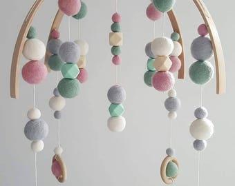 Felt Ball Nursery Mobile (Pastel Orbit)