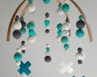 Felt Ball Nursery Mobile (Crosses)
