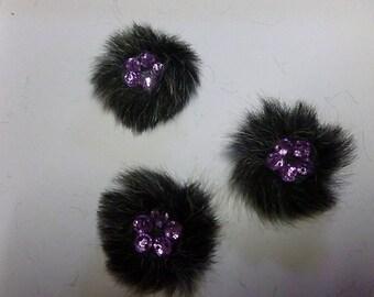 faux fur jewelled decoration