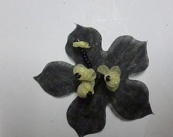 Black and white organza flower