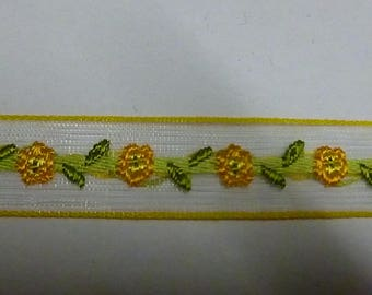 Organza Ribbon embroidered flowers