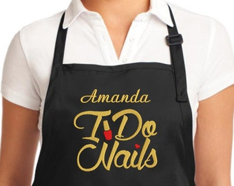 Custom Apron Nails Tech Stylist Apron Embroidered - Personalized Nails Tech Aprons – I Do Nails – Nails stylist gifts