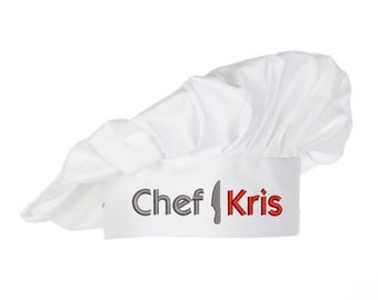 Personalized chef hat, embroidered name unique colorful cooking master cooks hat, perfect cook lover statement personal gift hat