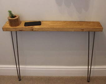 Rustic Console Table - Narrow - Hairpin Legs - Wooden Rustic Hallway Table  - Rustic Shelf - Fast Shipping - Chunky 8d2b29391