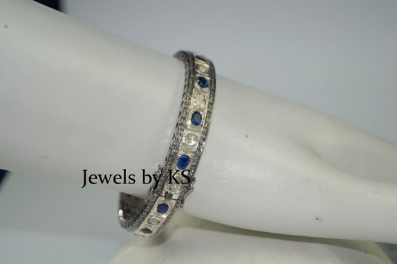 1.10cts ROSE CUT DIAMOND SAPPHIRE ANTIQUE VICTORIAN LOOK 925 SILVER BAND RING
