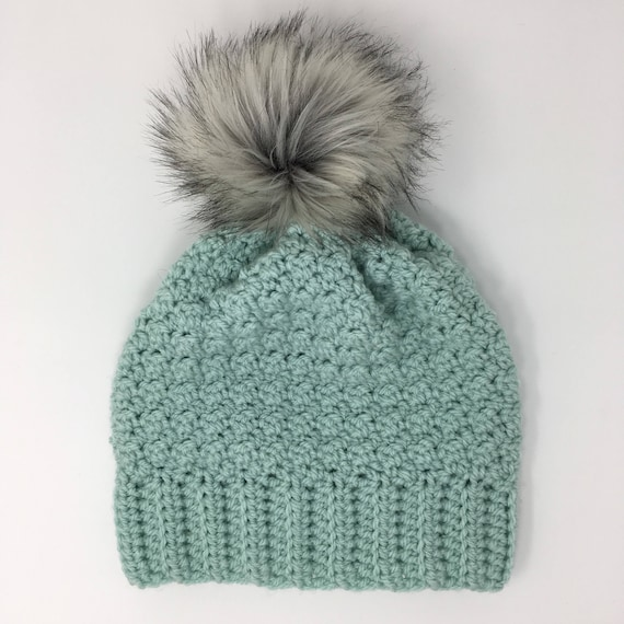 4d5afb165de Slouchy beanie with faux fur Pom pom mint green womans hat