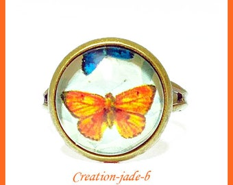 Adjustable ring - Orange Butterfly Cabochon