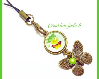 Jewelry for laptop - Butterfly Cabochon green and yellow