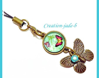 Jewelry for laptop - Butterfly Cabochon blue and Red