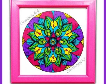Pink Mandala frame 15 x 15 cm