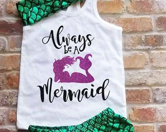 Always Be A Mermaid Little Girl Birthday Outfit For Summer Racerback Tank Under The Sea Shorts