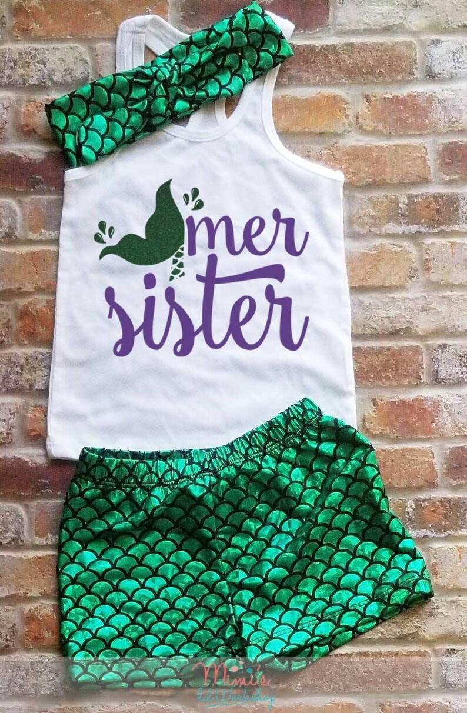 Mer Sister Mermaid Birthday Mermaid Sister Under The Sea Sister Of The Mermaid Birthday Tank Mermaid Birthday For Girls