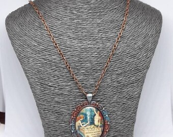 copper chain necklace and glass Mermaid cabocjon