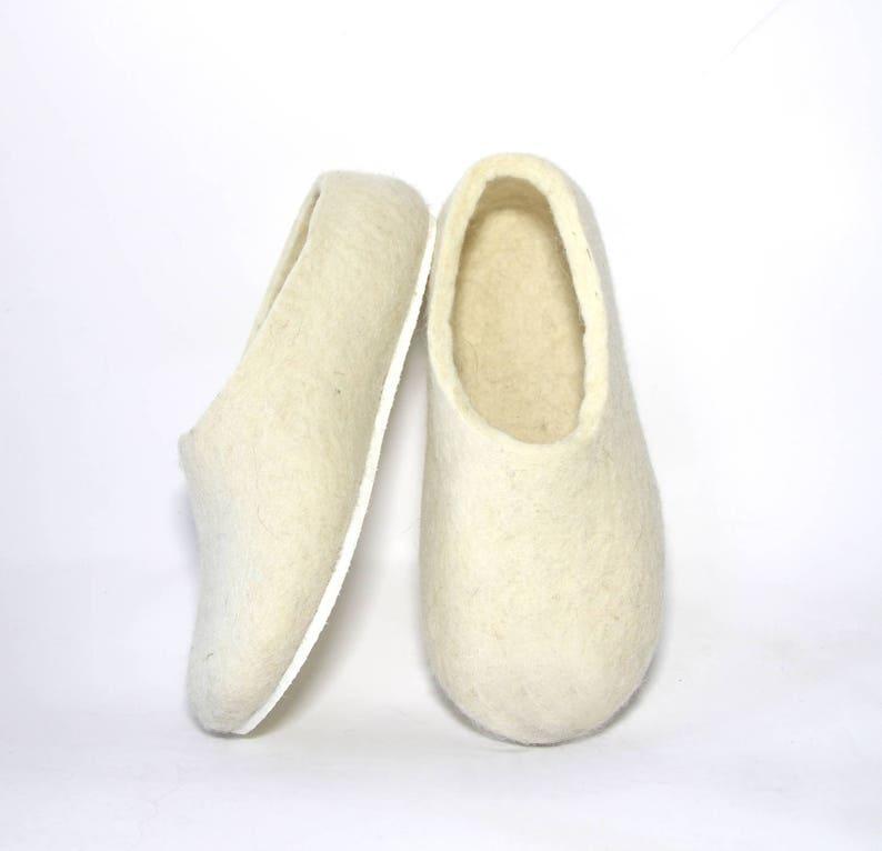 White bride slipper for wedding cold feet Winter home slippers womens felt slippers