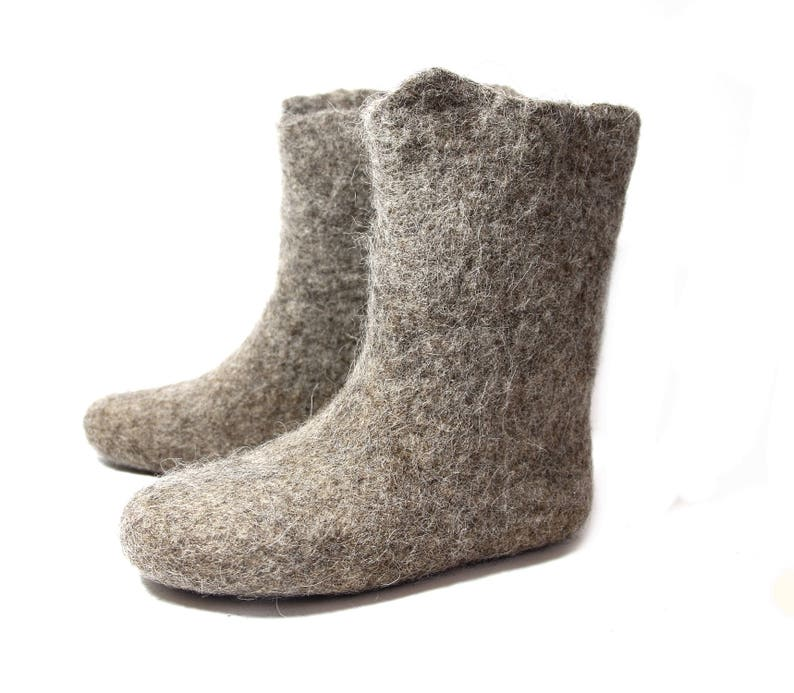 cdf7a17993f Undyed wool Woolen shoes, felt slipper boots, grey slippers to warm your  feet