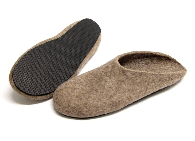 brown organic Wool clogs Mens felt slippers felted clogs for Women