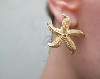 Starfish earrings, handmade, brass, gold,chic, feminine, beach ,seaside, women ,girls