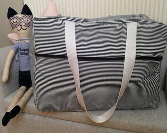 diaper bag Navy striped cotton