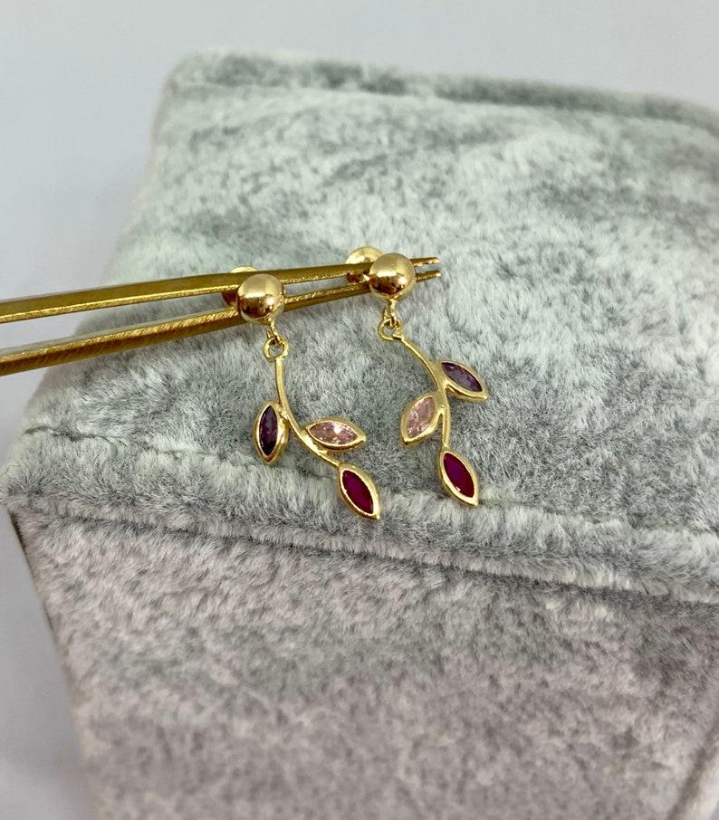 Tiny Stud Gold Earrings Small Earrings Tiny Earrings Leafs Earrings,Stud Leaf earrings Mini colourful Earrings
